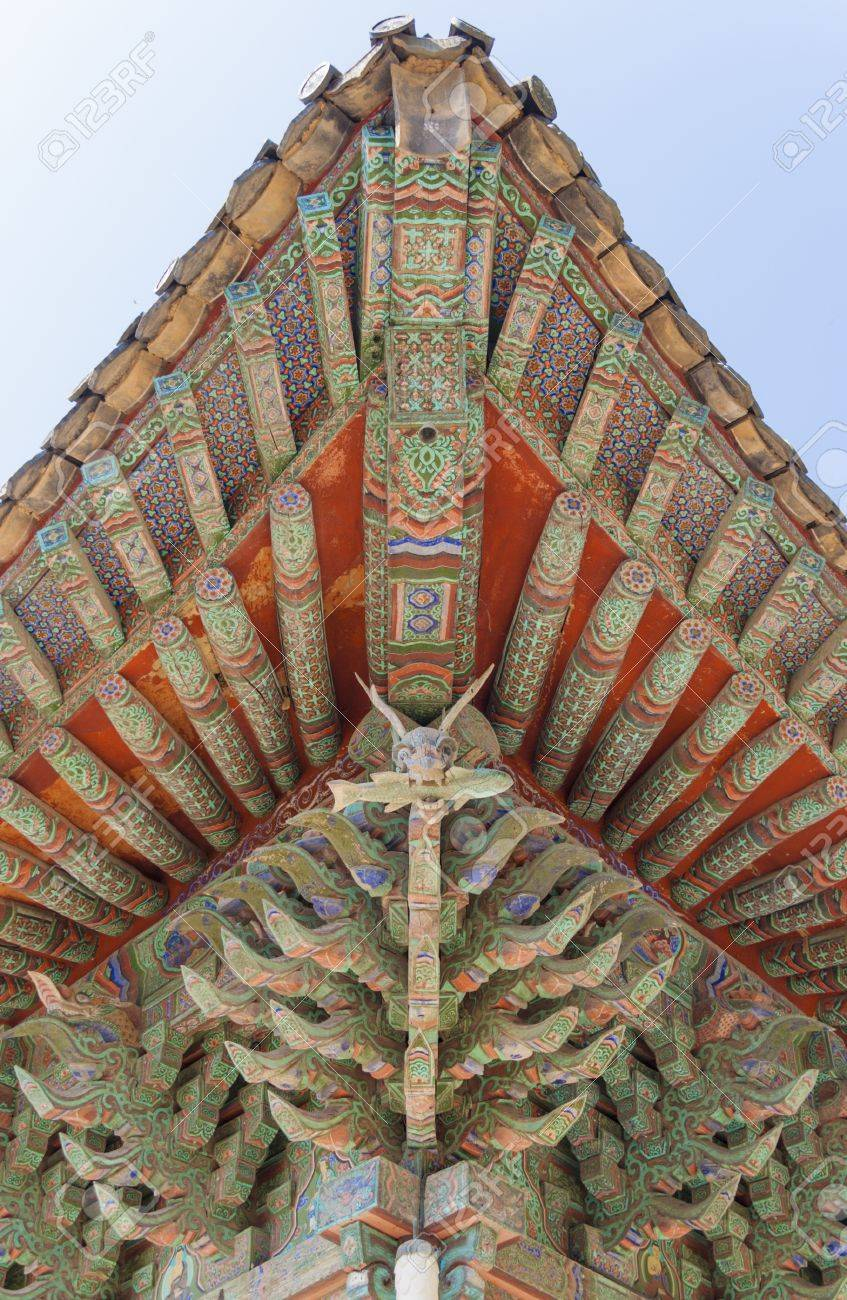 Ancient Asian Architecture Roof Detail Of A Wooden Dragon Stock Photo