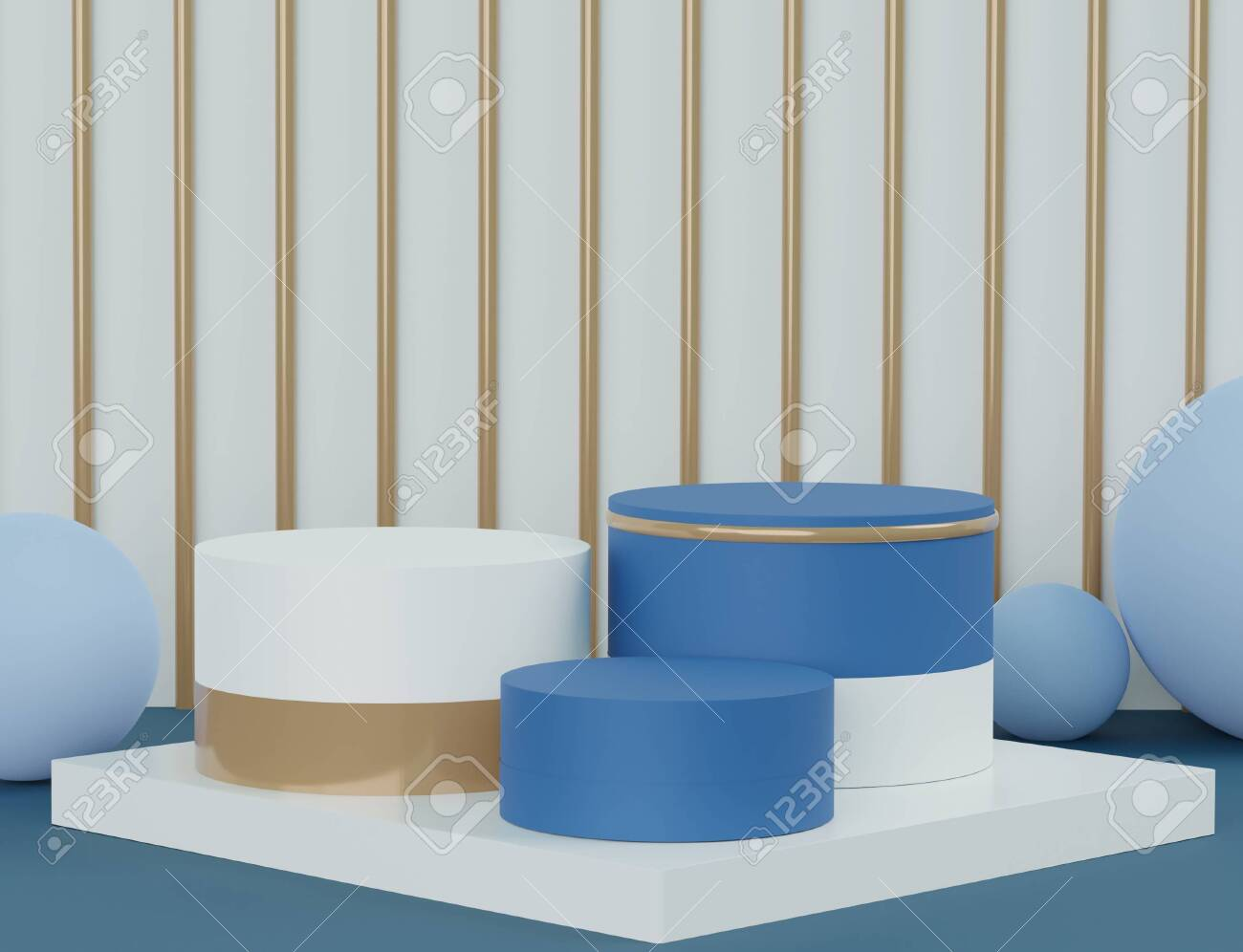 3d abstract minimal geometric forms. Glossy luxury podium for your design. Classic blue color of the year 2020. Fashion show stage,pedestal, shopfront. Empty scene for cosmetic show and mock up. - 140466189