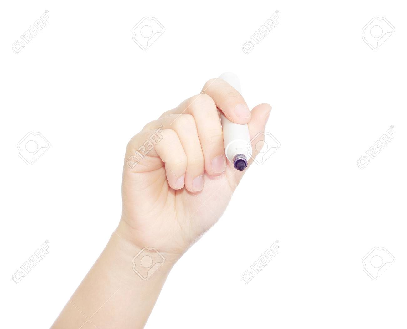Female hand is ready for drawing with black marker Isolated on white - 23021739
