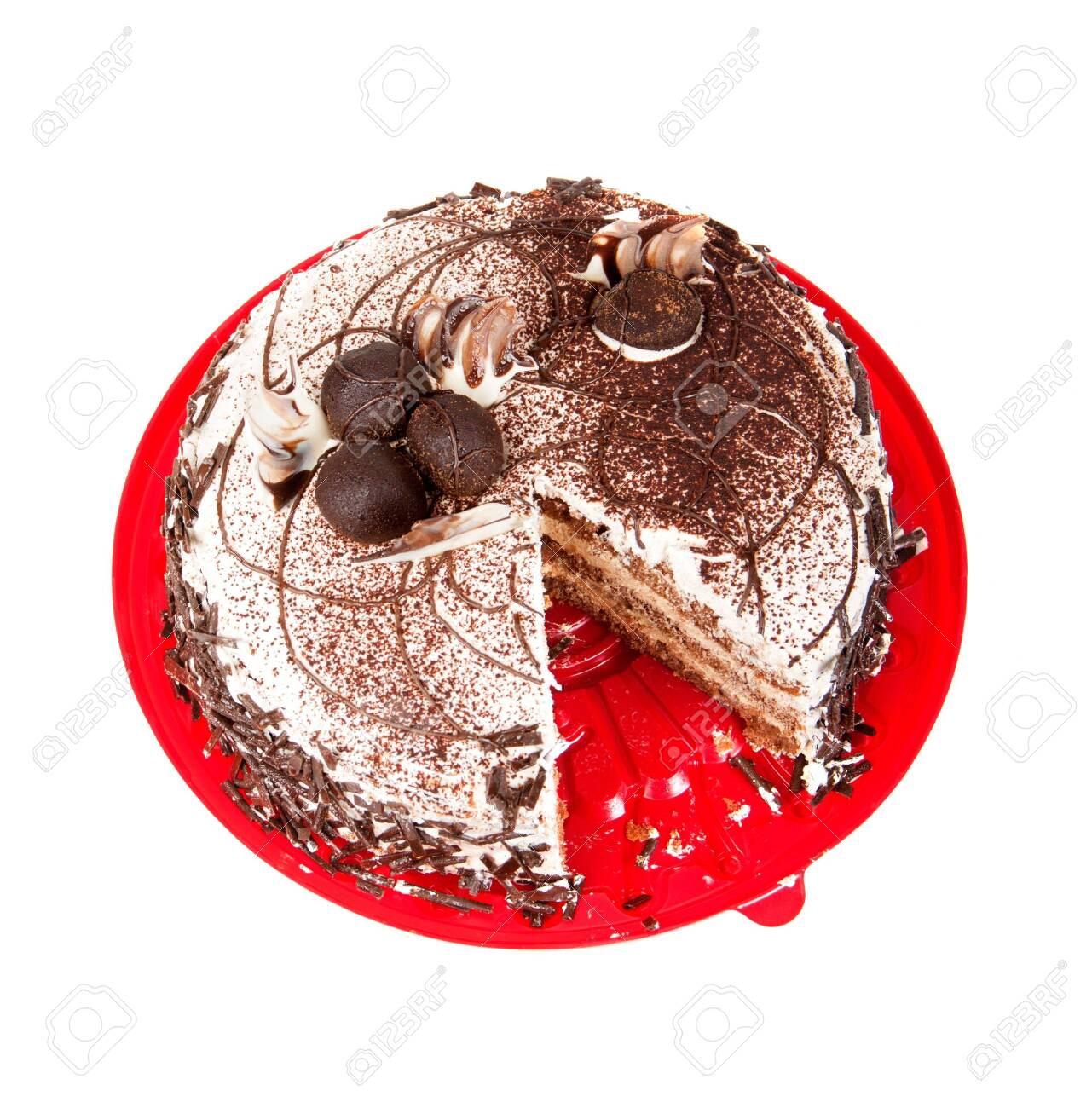cake chocolate on red plate Stock Photo - 17446584