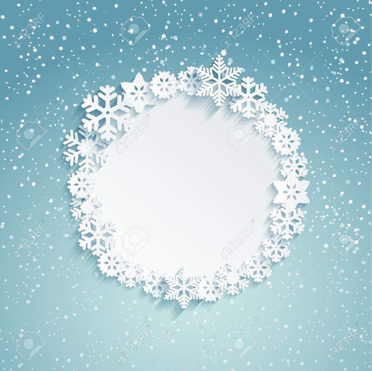 Rund Weihnachten Rahmen Mit Schneeflocken - Vorlage Für Die ...