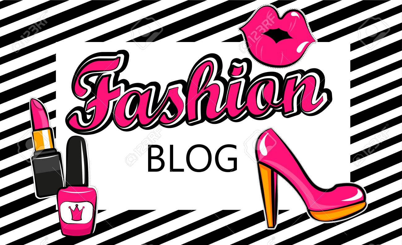Template For Fashion Blog With Stylish Patch Badges With Lips ...
