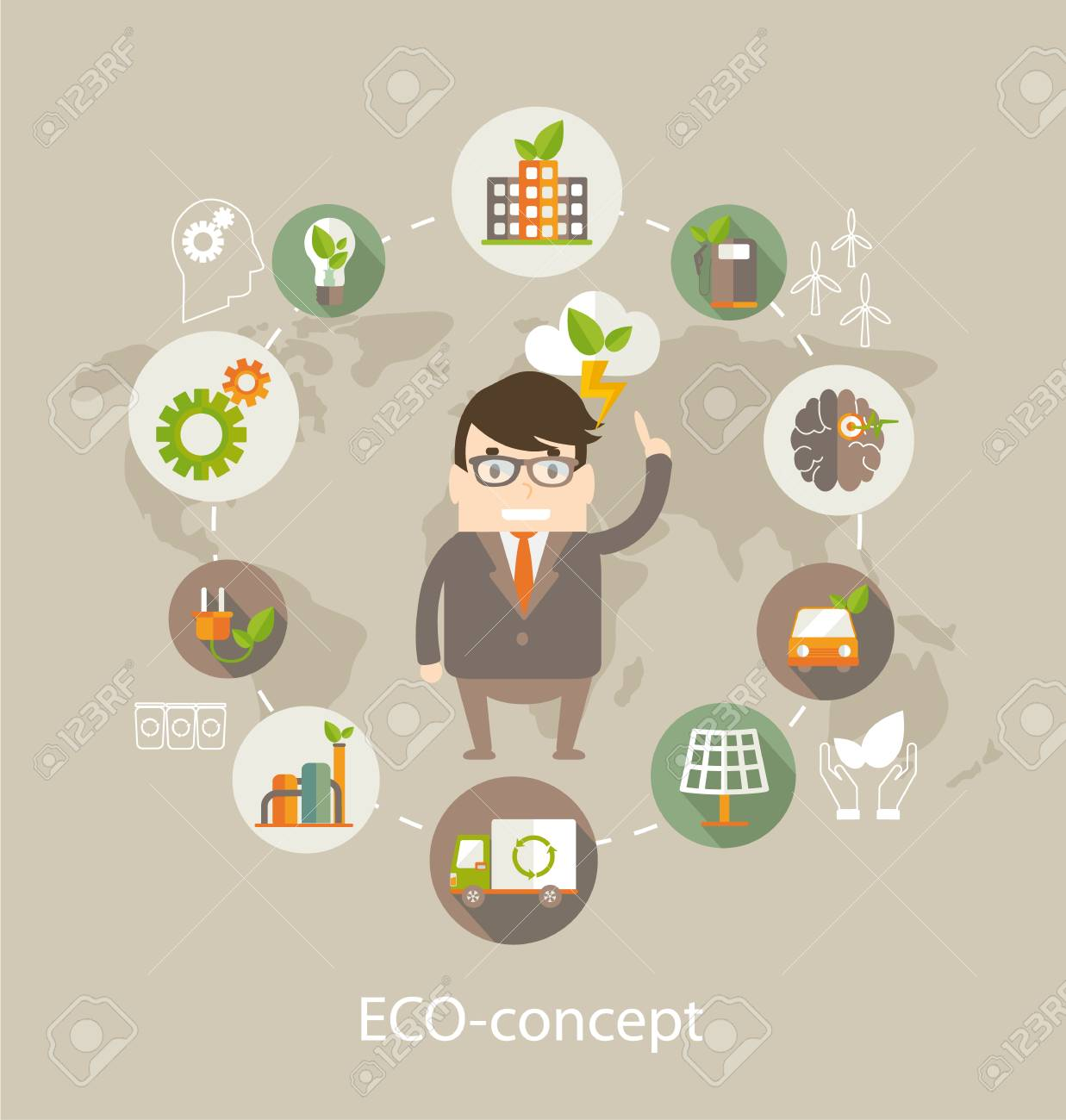 Eco Concept. Globe With Earth, Nature, Green, Recycling, Bicycle ...