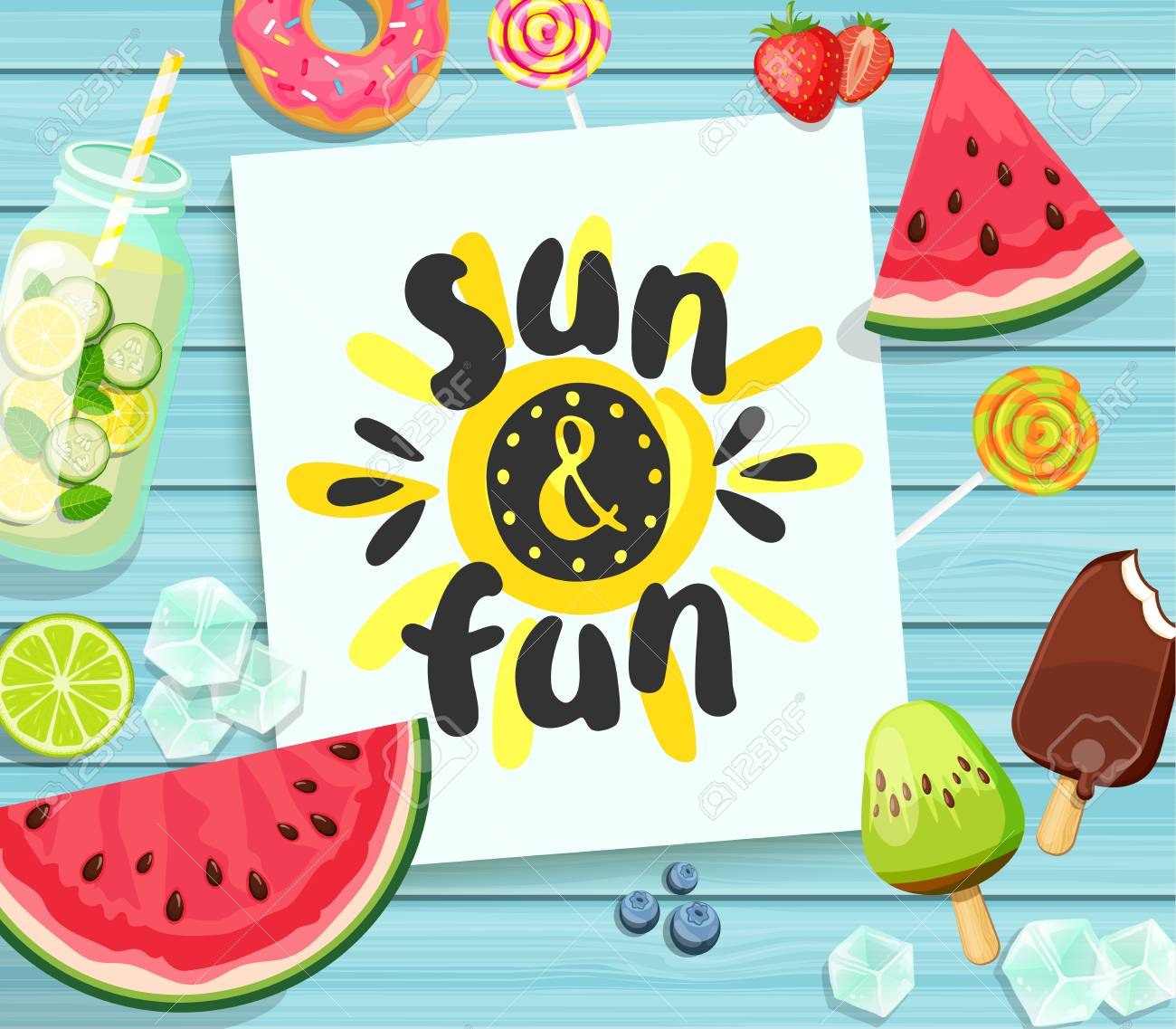 Sun and Fun card on blue wooden background. - 80177677