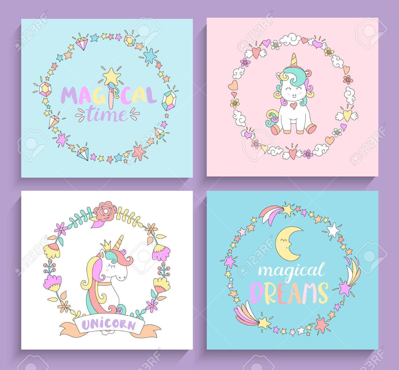 Set of magical unicorns cards with circle frames and lettering set of magical unicorns cards with circle frames and lettering vector illustration for print and m4hsunfo
