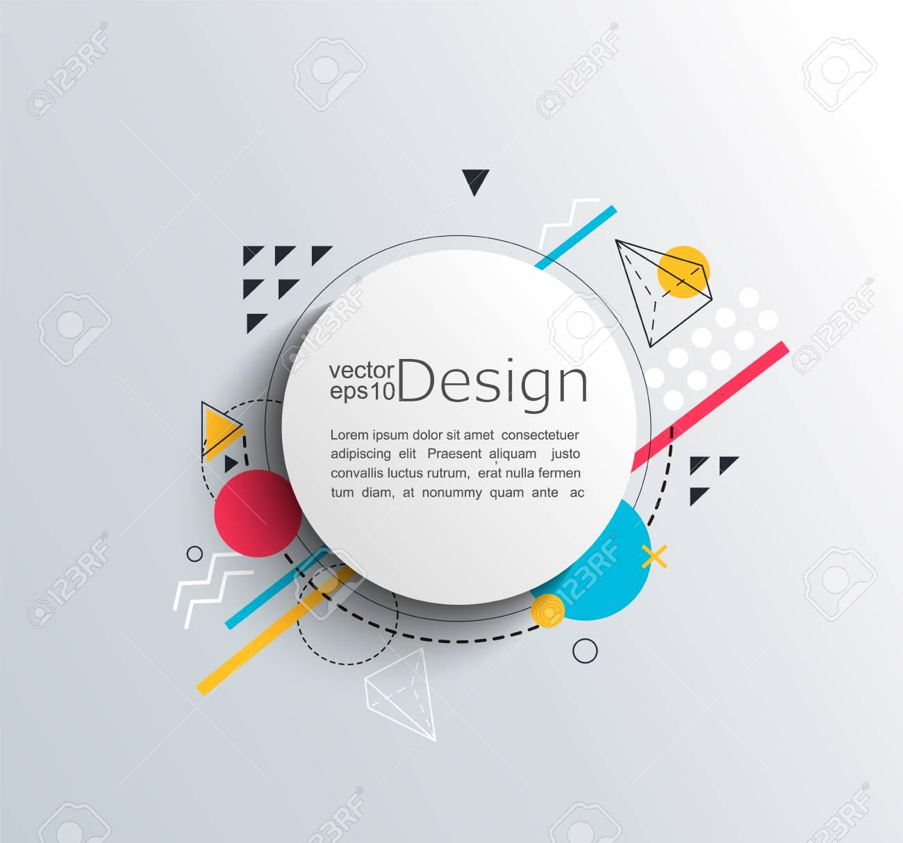 Marco De Círculo Con Formas Geométricas Coloridas. Para Su Folleto ...