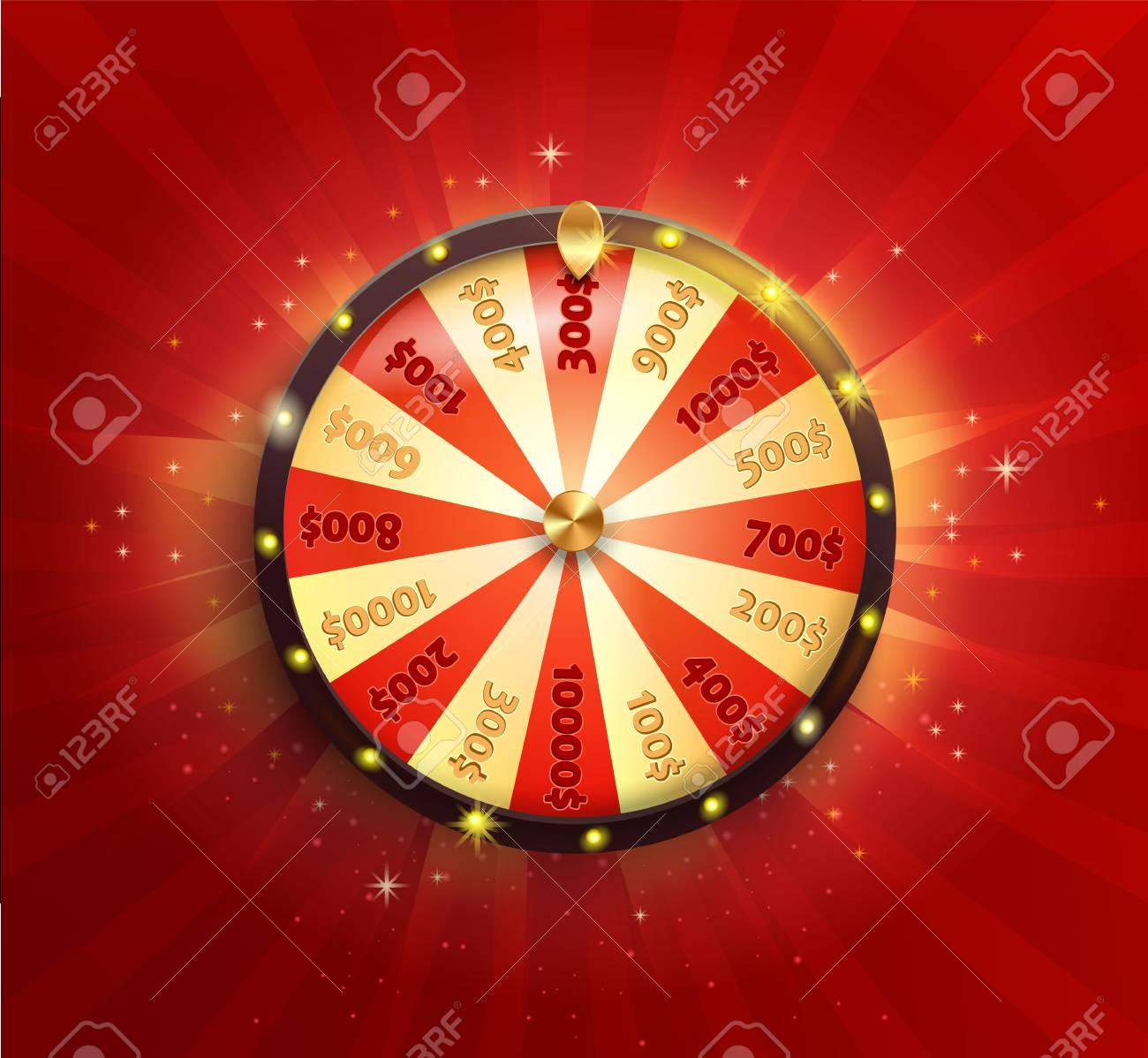 Symbol of spinning fortune wheel in realistic style. Shiny lucky roulette for your design on red glowing sunburst background. Vector illustration. - 92118648