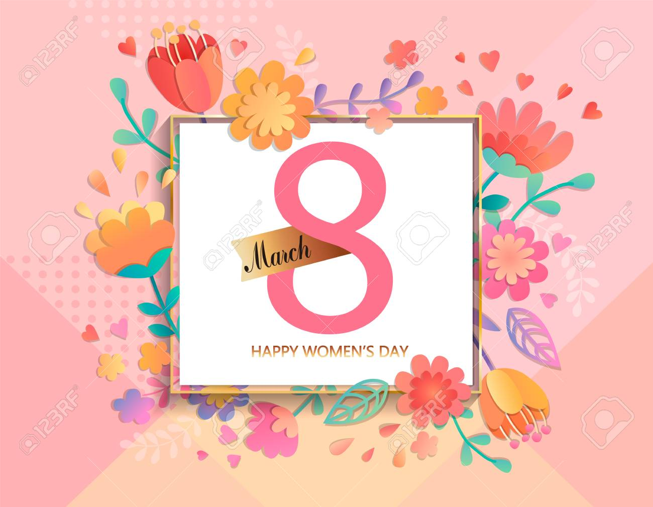 Card for happy women's day in square frame on geometric background pastel colors with beautiful flowers. Vector illustration template, banner, flyer, invitation, poster. - 94542515