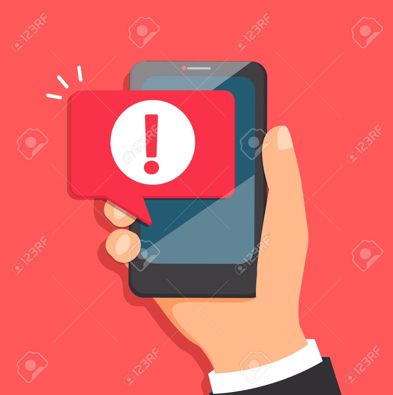 Concept of malware notification or error in mobile phone. Attention message bubble in smartphone. Red alert warning of spam data, insecure connection, scam, virus. Vector illustration. - 96963671