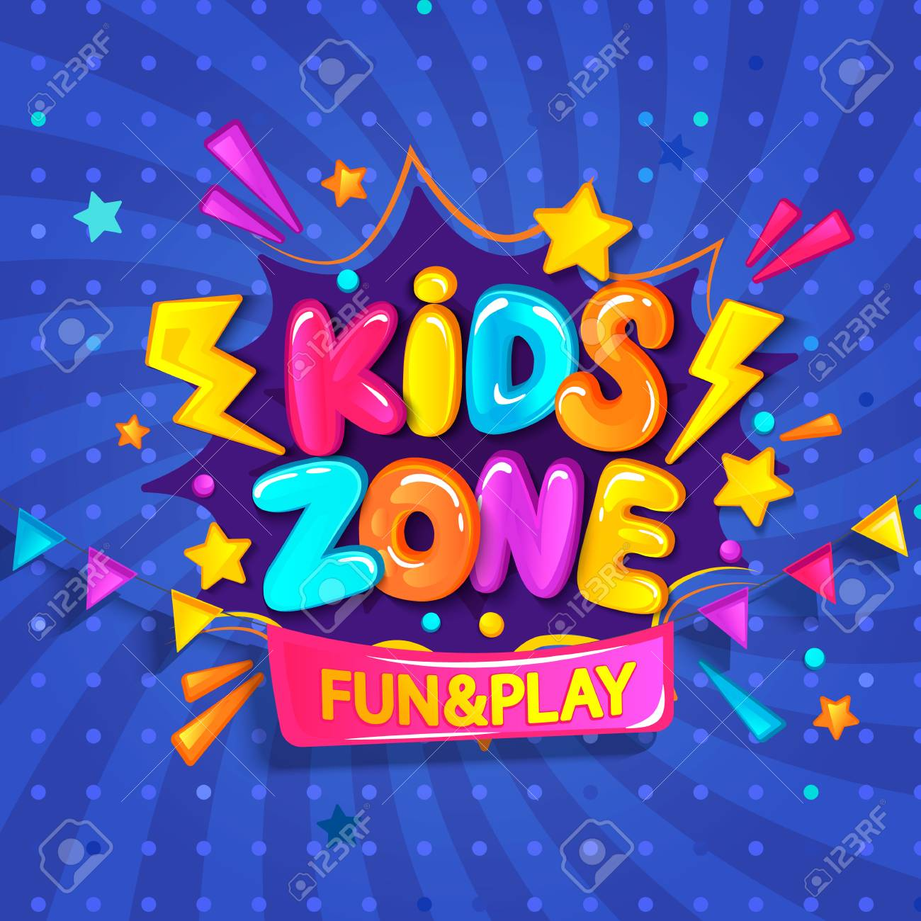 Super Banner for kids zone in cartoon style with burst background. Place for fun and play. Poster for childrens playroom decoration. Vector illustration. - 100254679