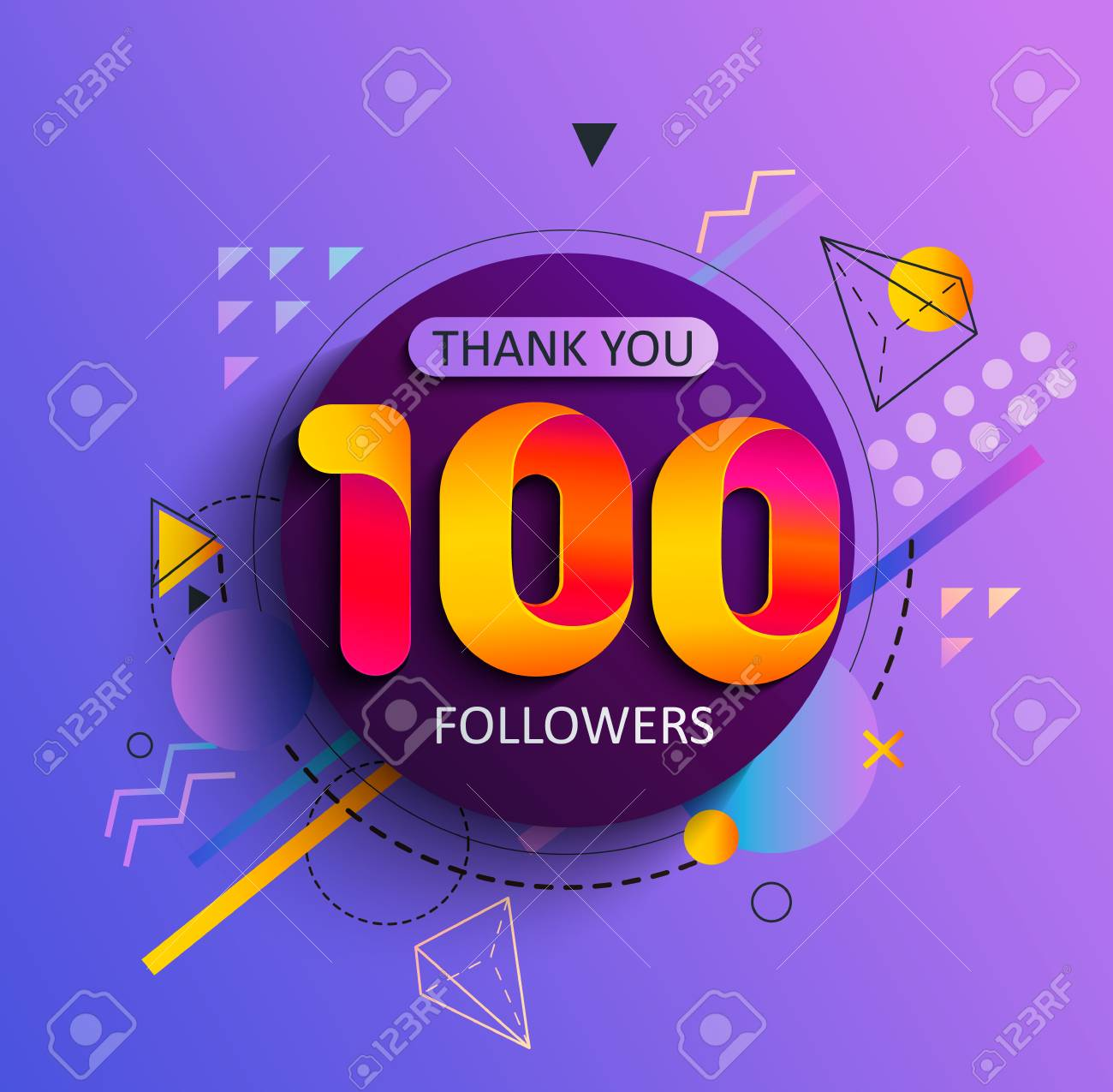 Thanks for the first 100 followers. Thank you followers congratulation card. Vector illustration for Social Networks. Web user or blogger celebrates and tweets a large number of subscribers. - 110408025