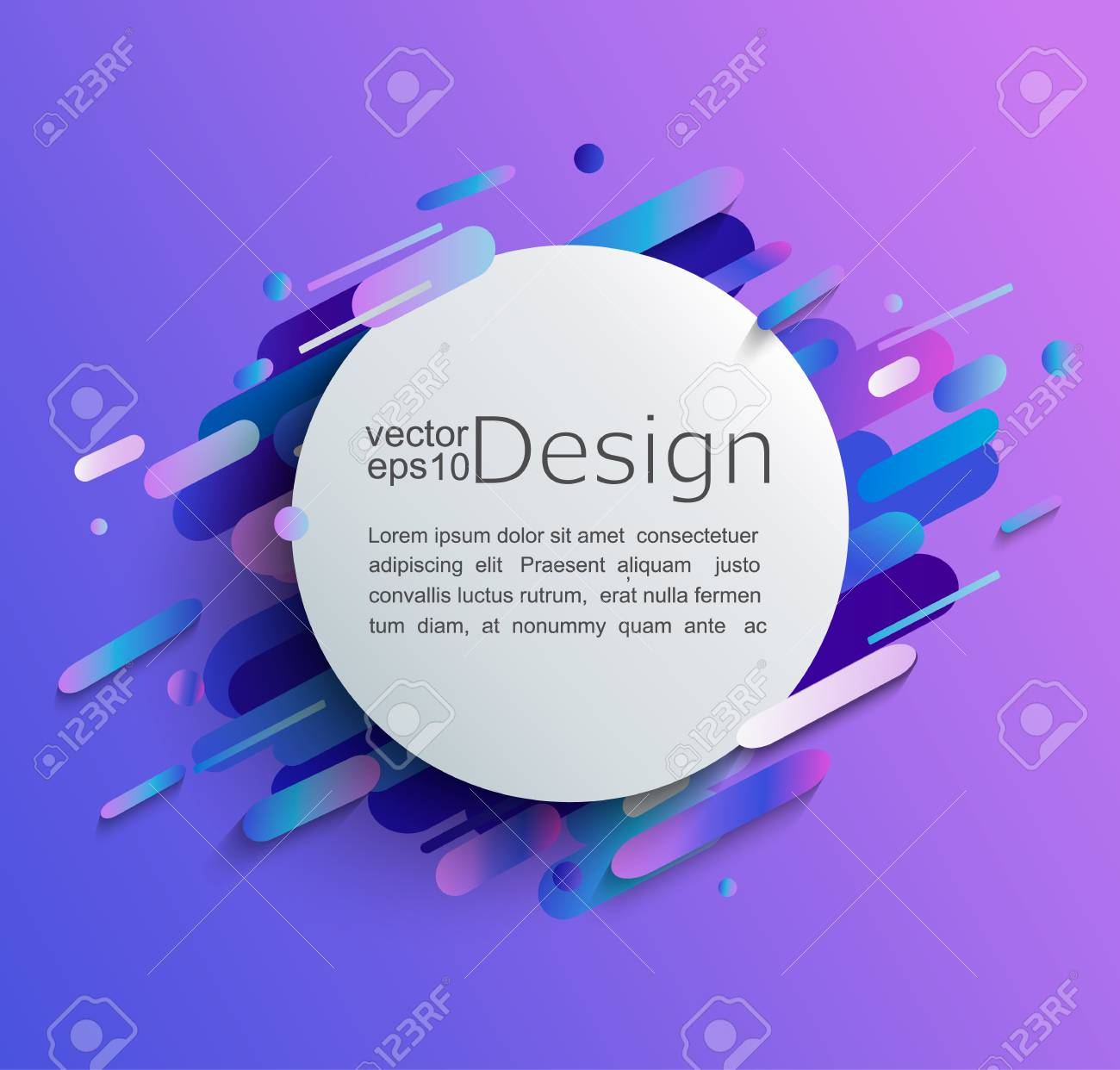 Circle frame with dynamic rounded shapes on modern and abstract gradient background. Vector illustration. - 107542888
