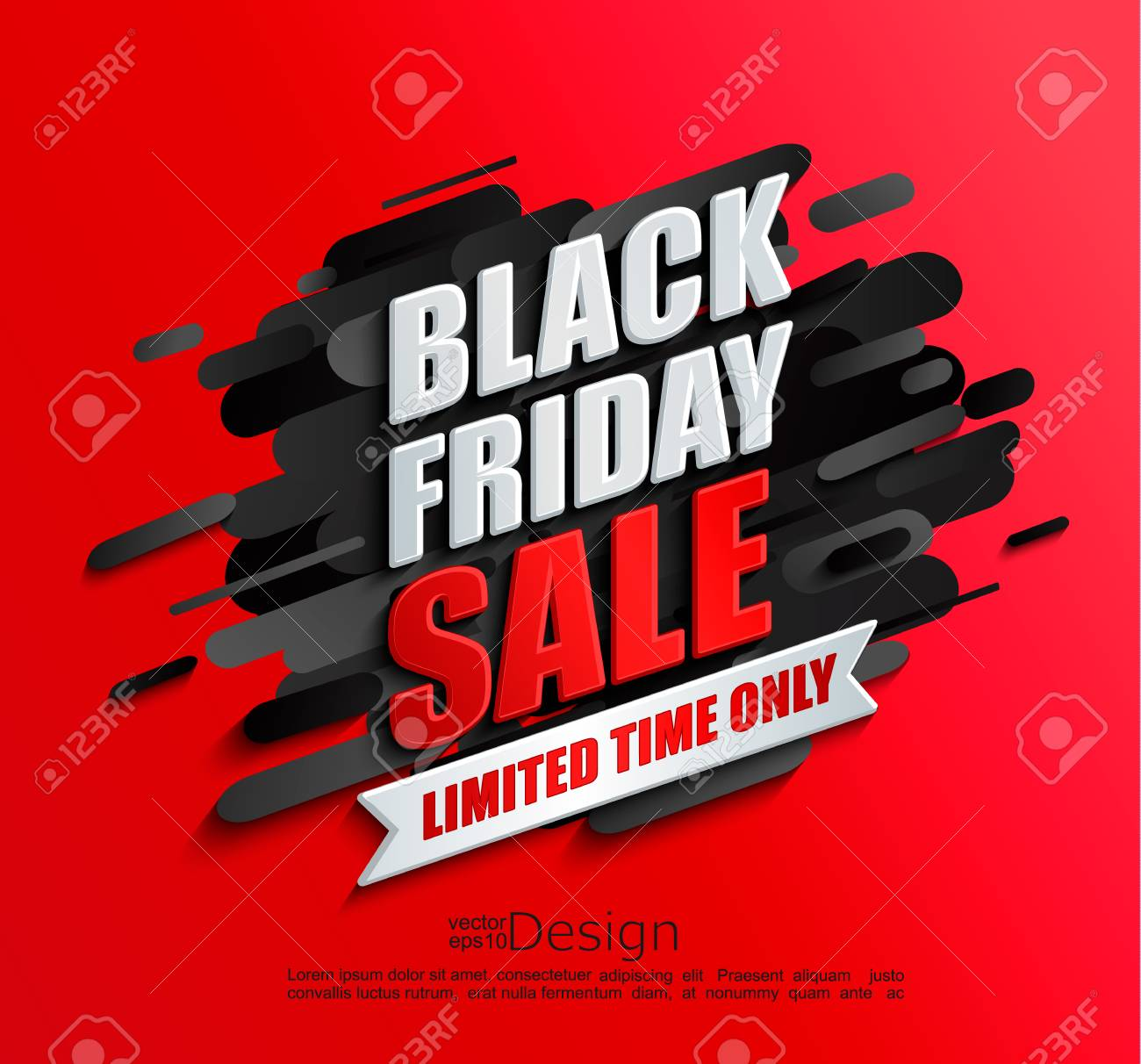 Dynamic Black Friday Sale Banner On Red Background Perfect Template Royalty Free Cliparts Vectors And Stock Illustration Image 113574787