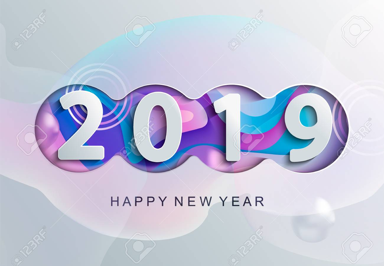 2019 Creative Happy New Year Card In Paper Style For Your Seasonal