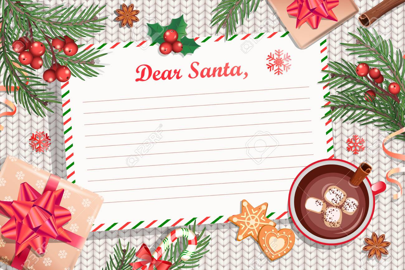 Template Of Christmas Letter To Santa Claus With Traditional