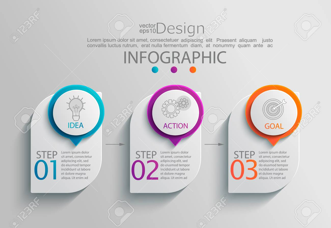 Paper infographic template with 3 options for presentation and