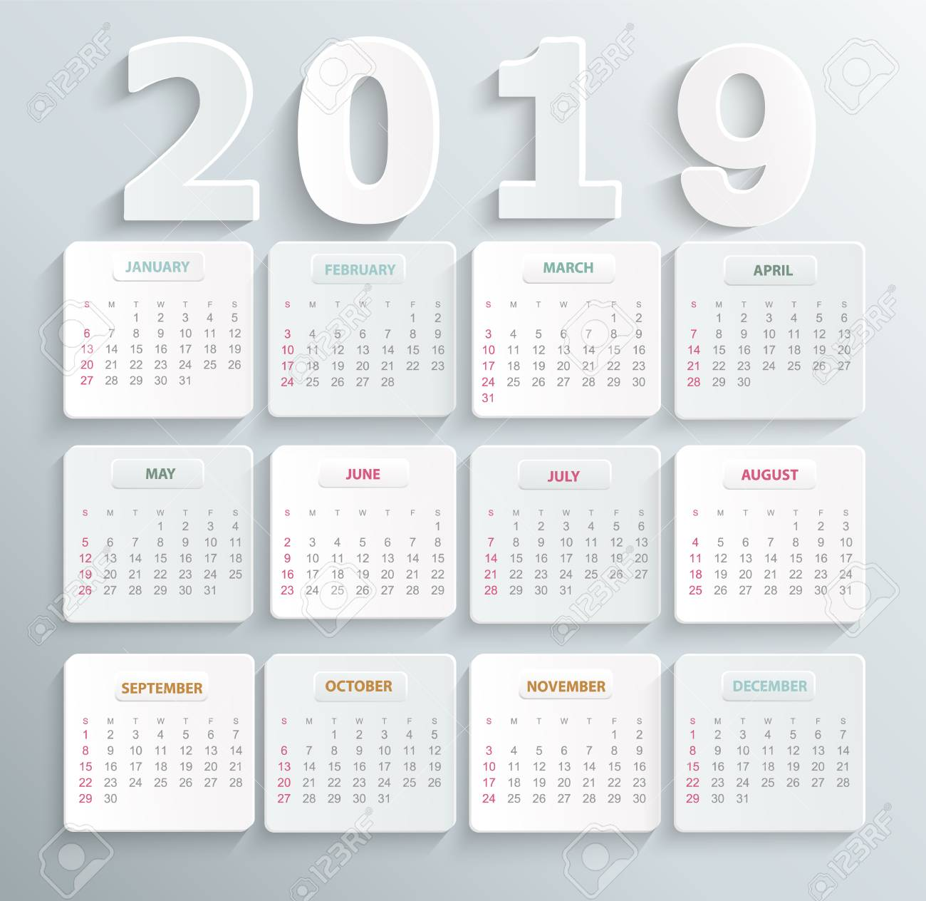 Simple calendar for 2019 year  Holiday event planner  Week Starts