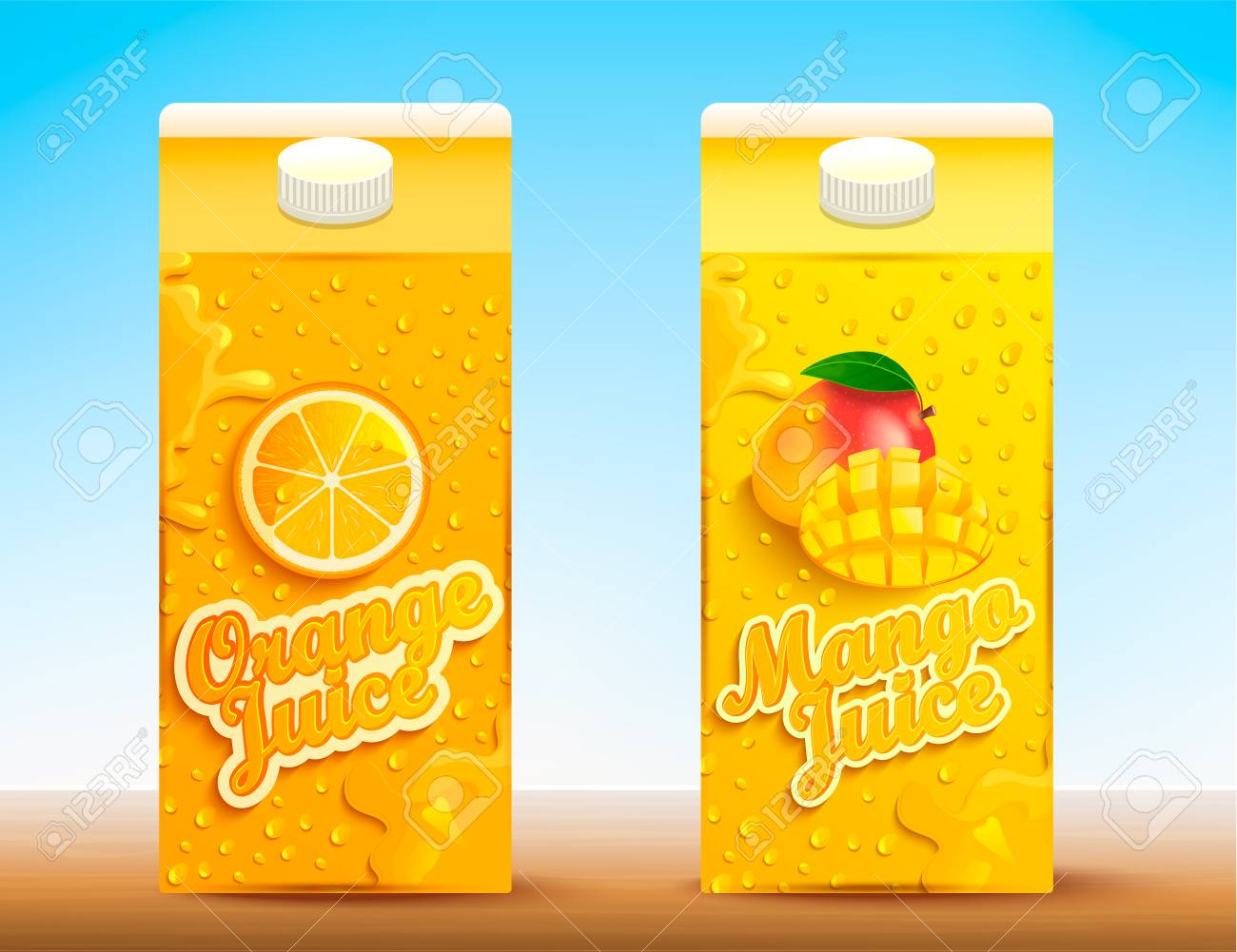 Set of two juice tetra packs with different tastes.Fresh and natural orange and mango juice for your brand,logo, template, label, emblem for packaging, packing, advertise. Vector illustration - 116374602
