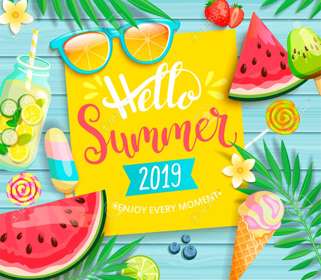 Hello summer 2019 yellow card or banner with handdrawn lettering on blue wooden background with watermelon, detox, ice, ice cream,sunglasses and candy, blueberry. Vector Illustration. - 116374609