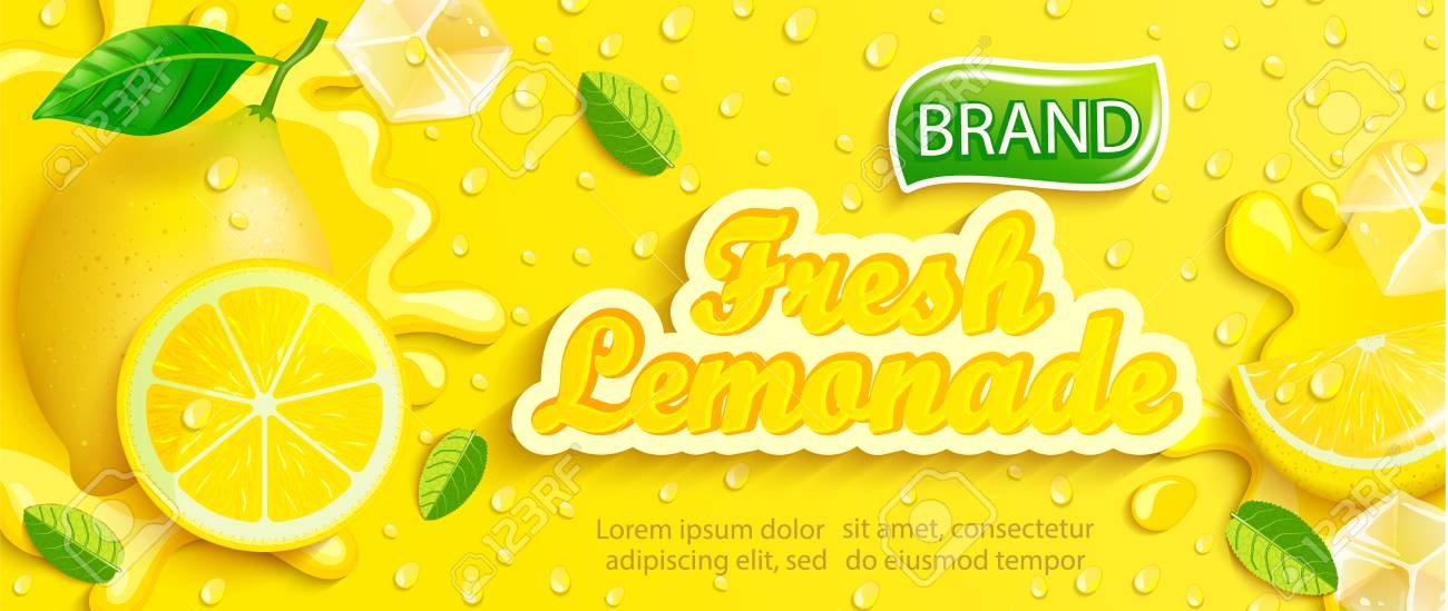 Fresh lemonade with lemon, splash, apteitic drops from condensation, fruit slice, ice cubes on gradient yellow background for brand,logo, template,label,emblem and store,packaging,advertising.Vector - 120906723