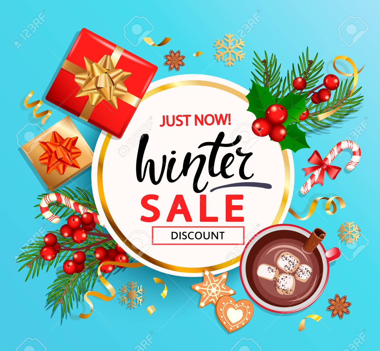 Free Christmas Gifts 2020 Winter 2020 Sale Banner,invitation Card With Hand Drawn Lettering