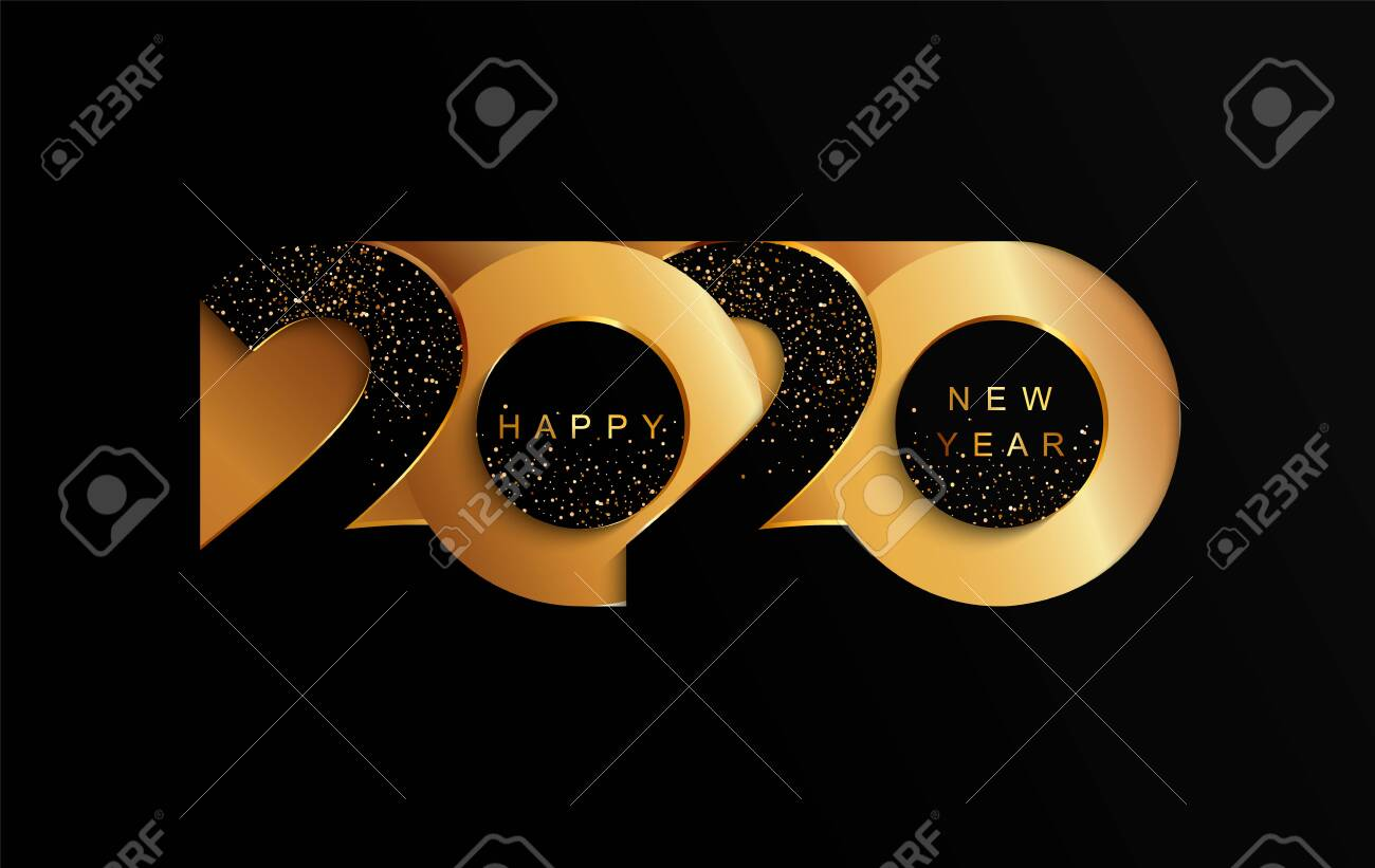 Happy 2020 new year golden papercut banner in paper style for your seasonal holidays flyers, greetings and invitations, christmas themed congratulations and cards. Vector illustration. - 131732059