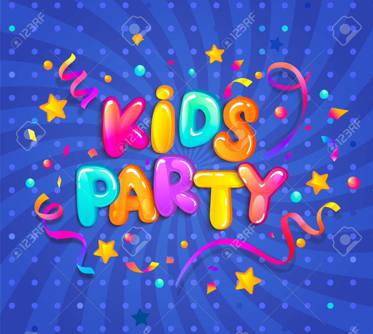 Kids party banner with confetti,serpentine sparkles for greetings,invitations for evening parties.Place for fun and play, kids game room for birthday party. Poster for childrens playroom decor.Vector - 132577041