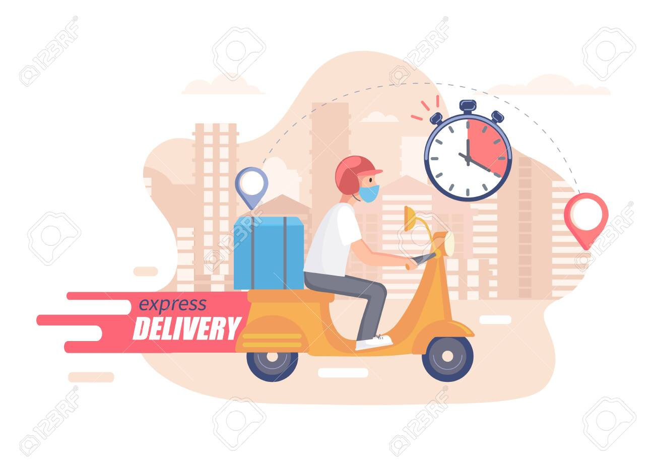Fast,free and healthy scooter delivery concept. Food and other shipping service for websites in quarantine. Vector illustration of quick and express deliver. Advertise for restaurants, caffees, shops. - 143299130