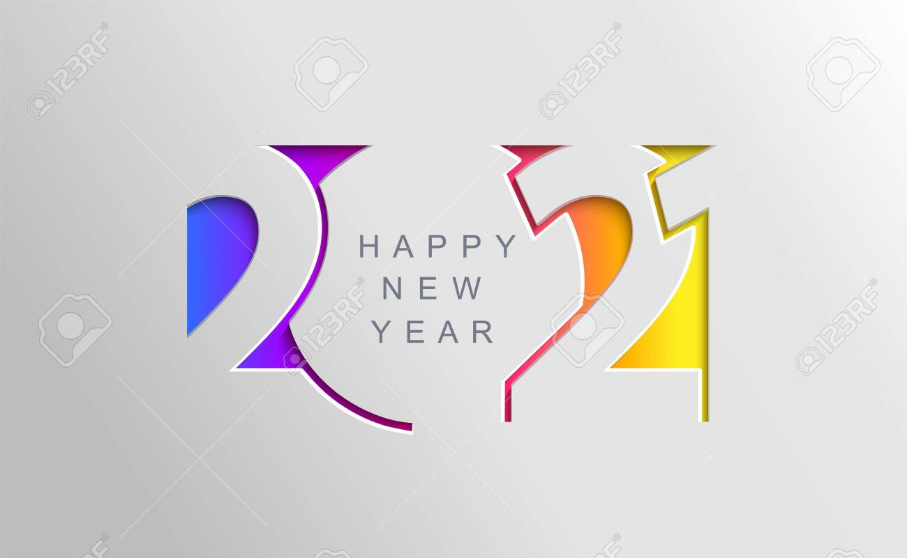 2021 Happy New Year Card In Paper Cut Simple Style For Your Seasonal Royalty Free Cliparts Vectors And Stock Illustration Image 151214139