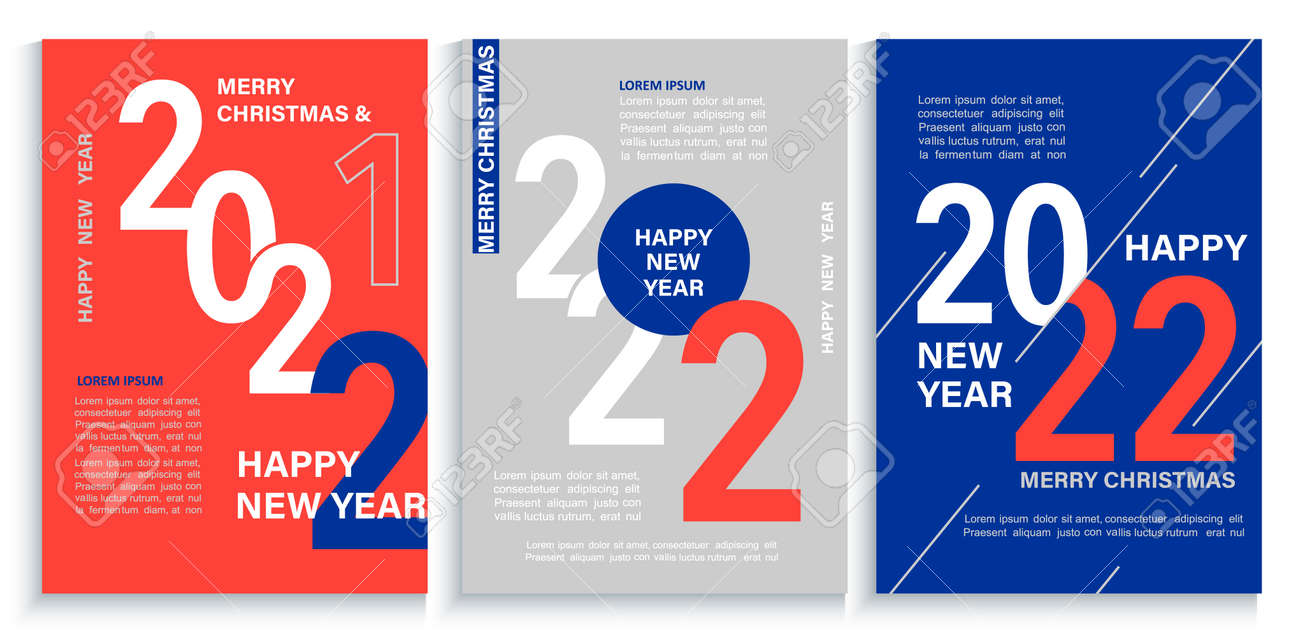 Set 2022 New Year banners,flyers in red,blue,white - 168332210
