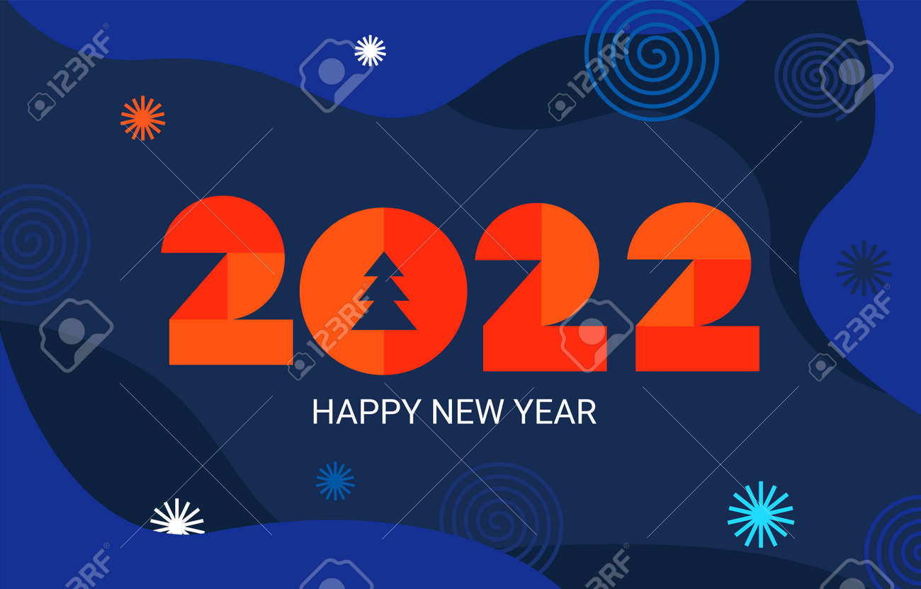 2022 New Year banner, with geometric numbers. - 168829708