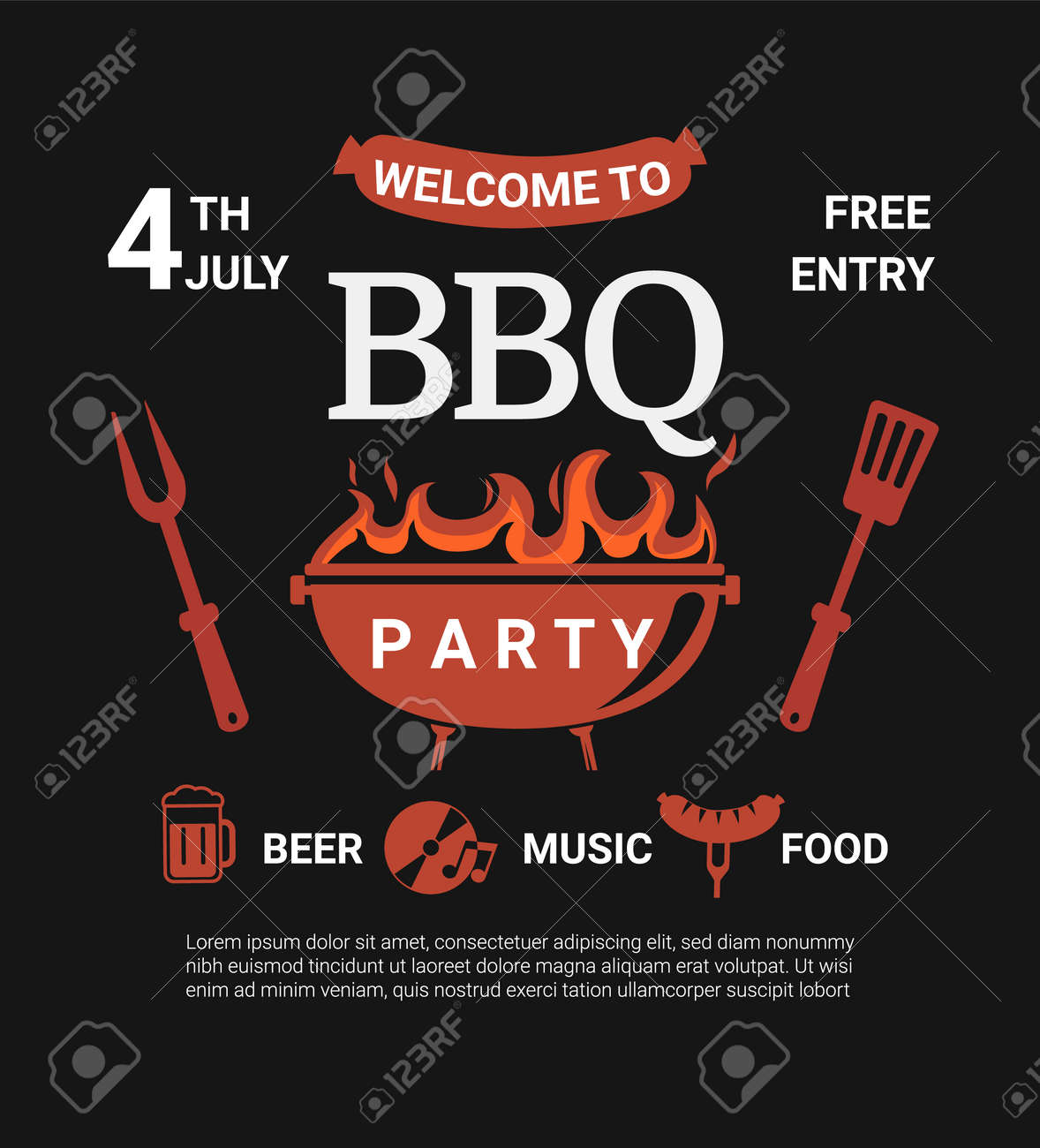 Welcome BBQ party flyer. - 168829711