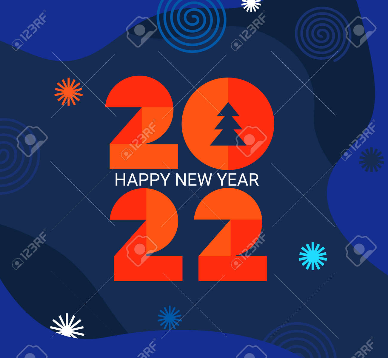 2022 New Year greeting card with geometric numbers - 169107747