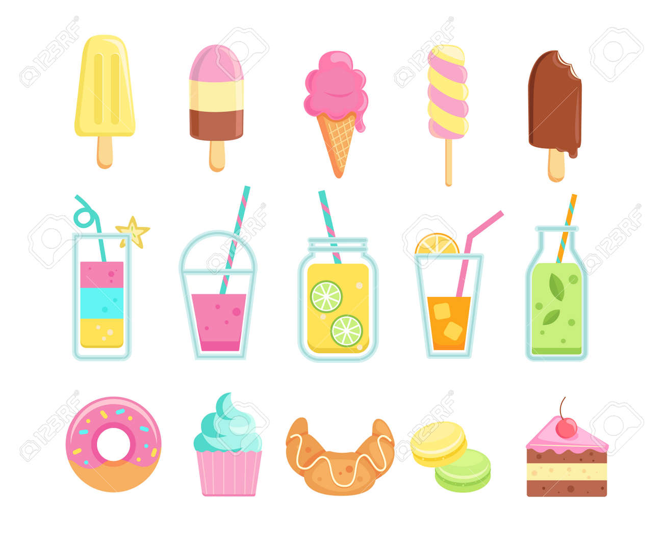 Set of tasty sweet summer drinks and food icons. - 169501039
