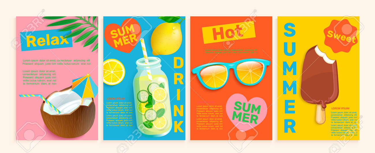 Summer flyers,cards,posters with hot season themes - 169713411