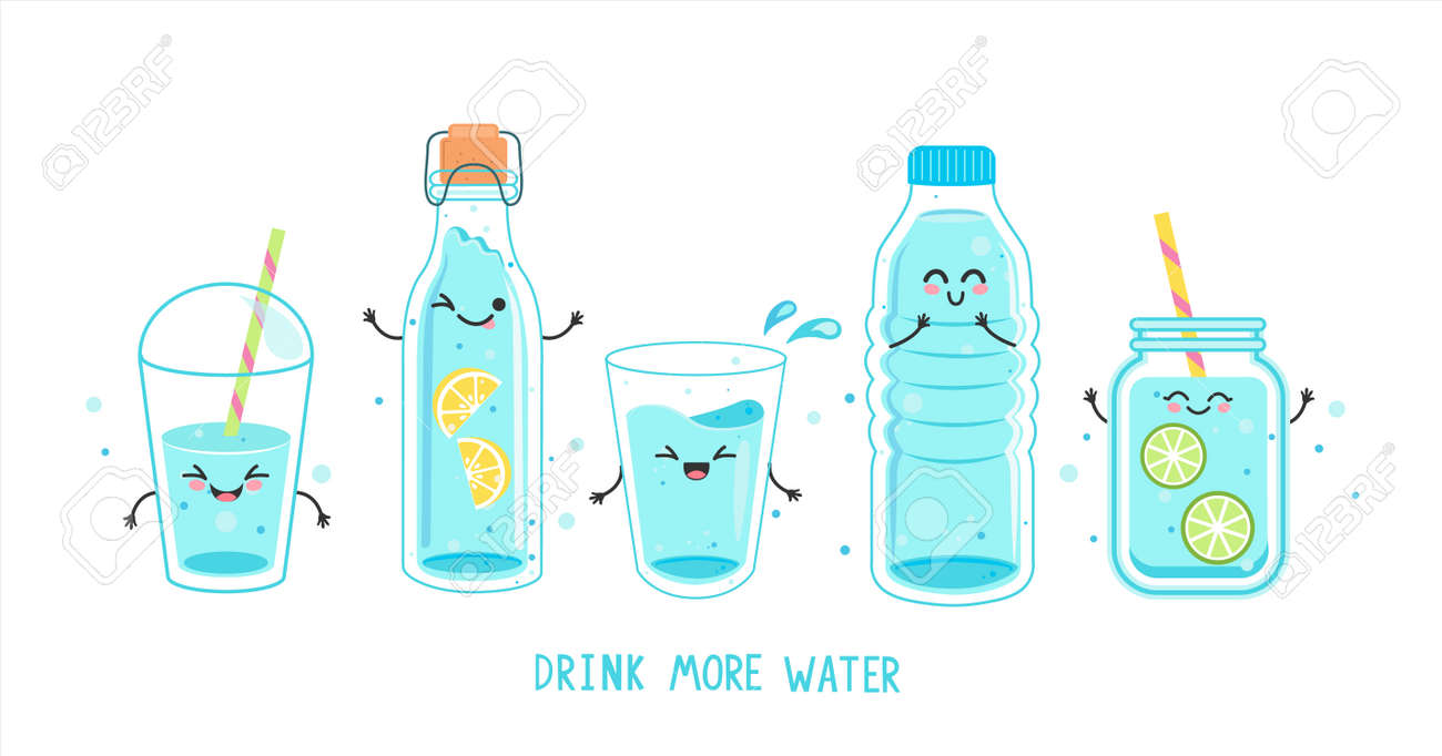 Set of clean and fresh water in bottles, glasses. - 170106748