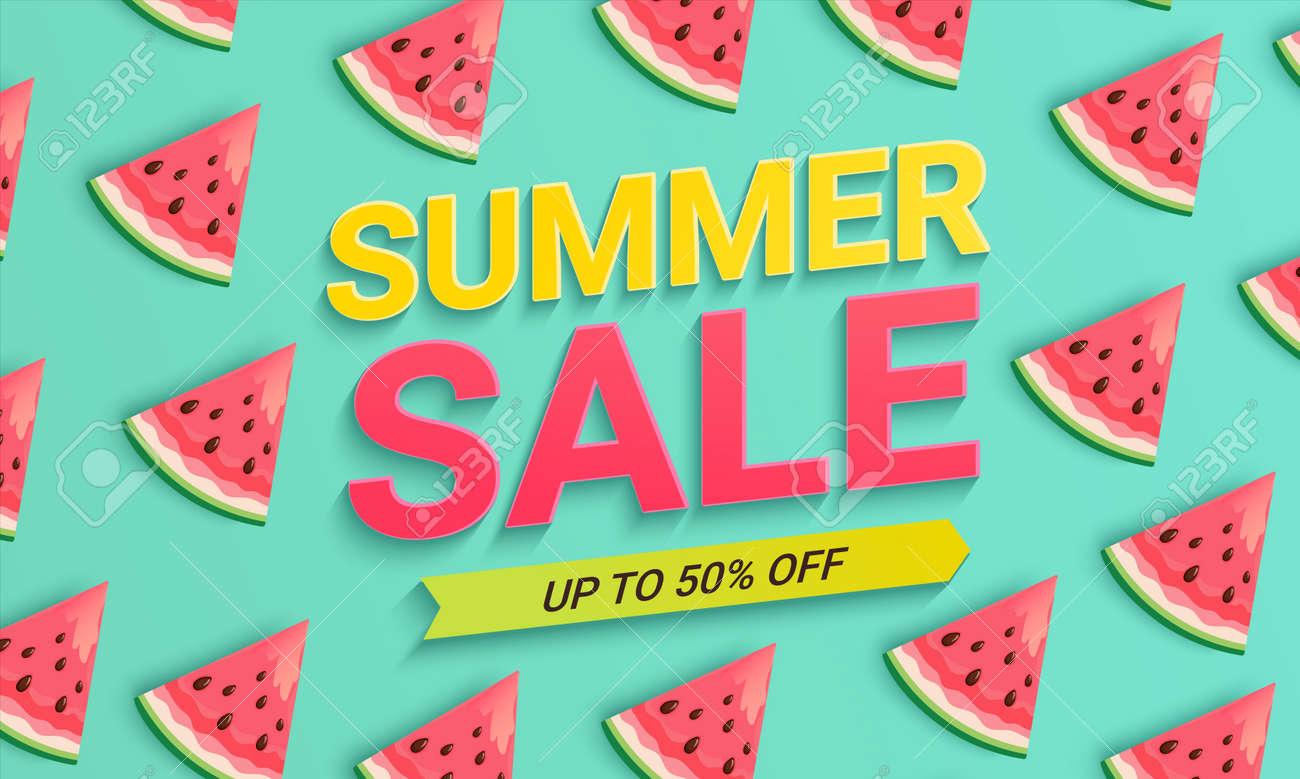 Watermelon sale banner for summer 2021. - 171158482