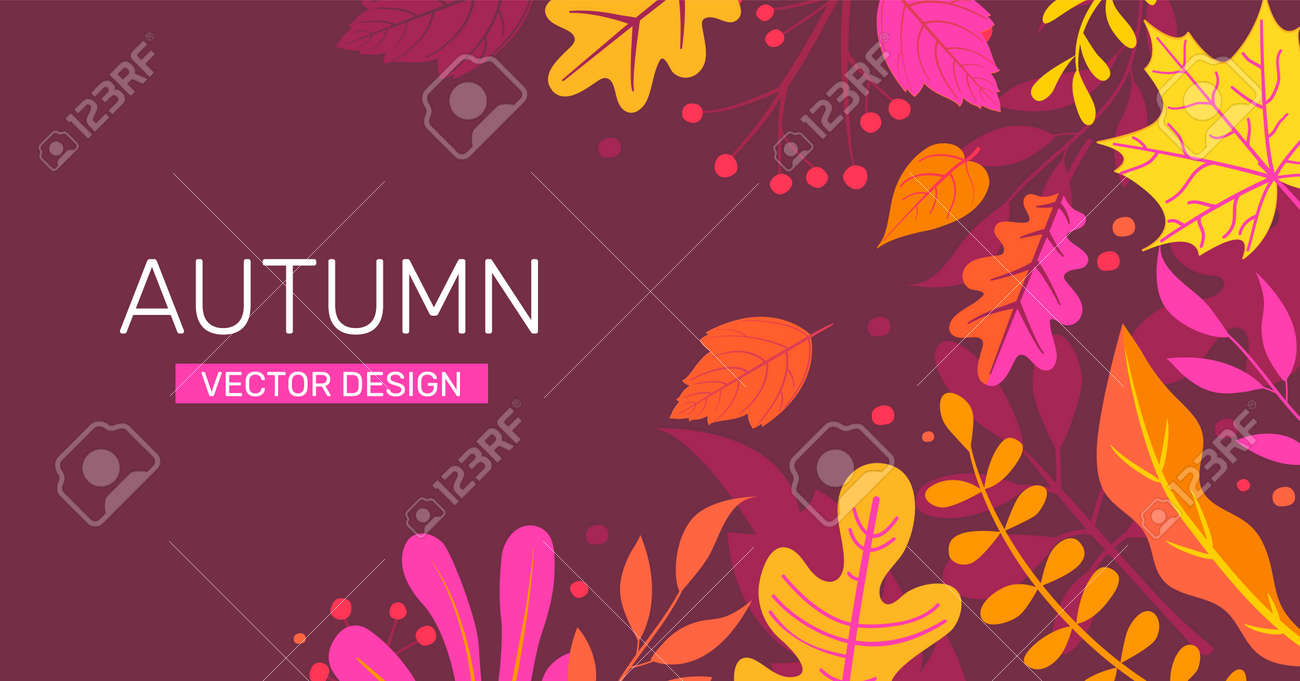 Autumn banner with autumn leaves, place for text. - 171534881