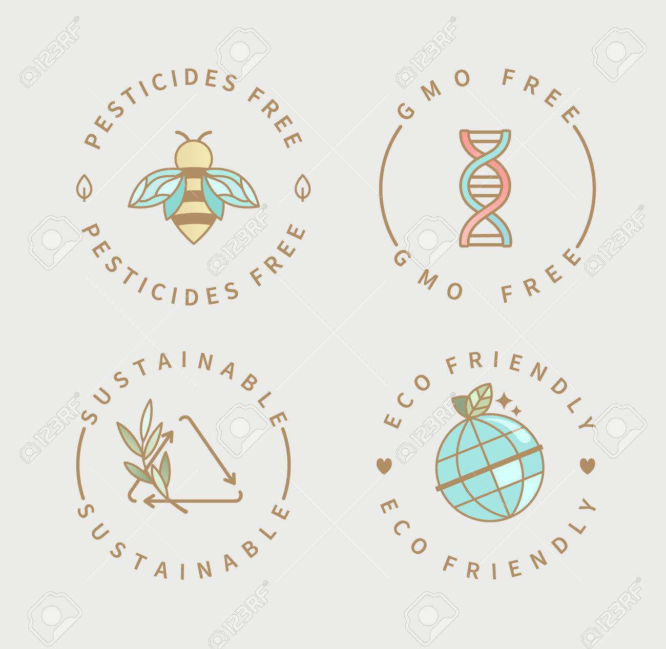 Pesticides,gmo free, sustainable,eco product logo. - 173222556
