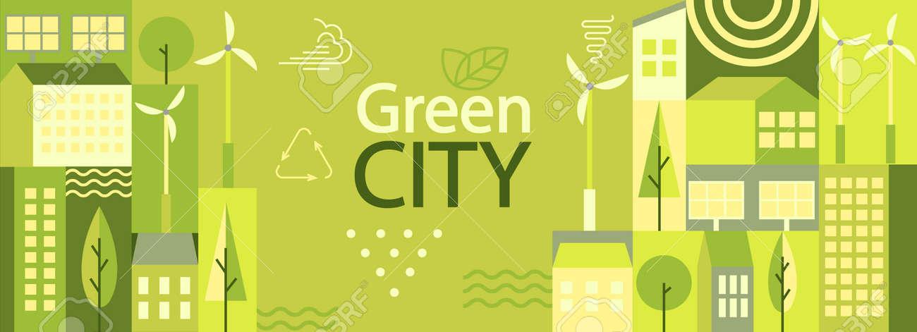 Green city horizontal banner. - 173936837