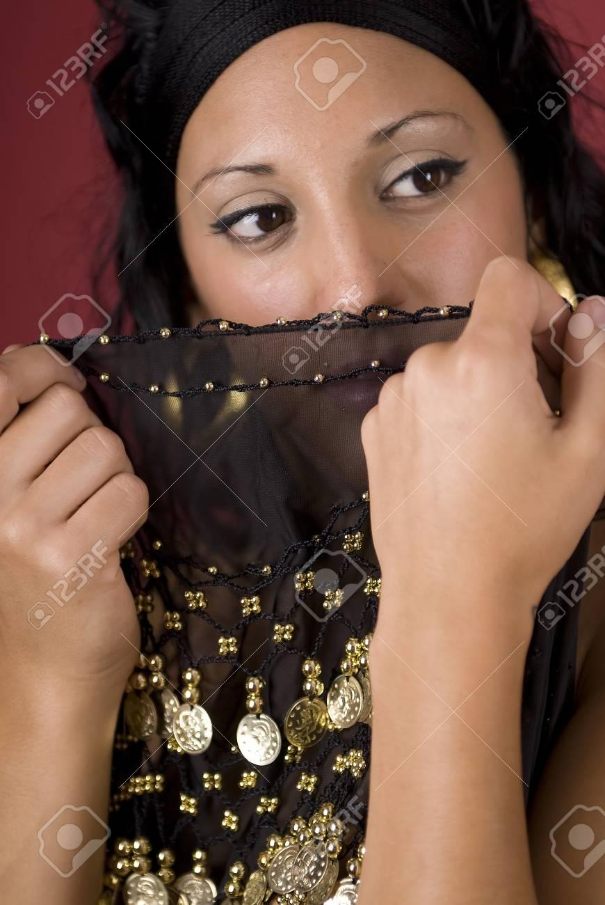 Beautiful arabian style dancer with black veil Stock Photo - 4340297