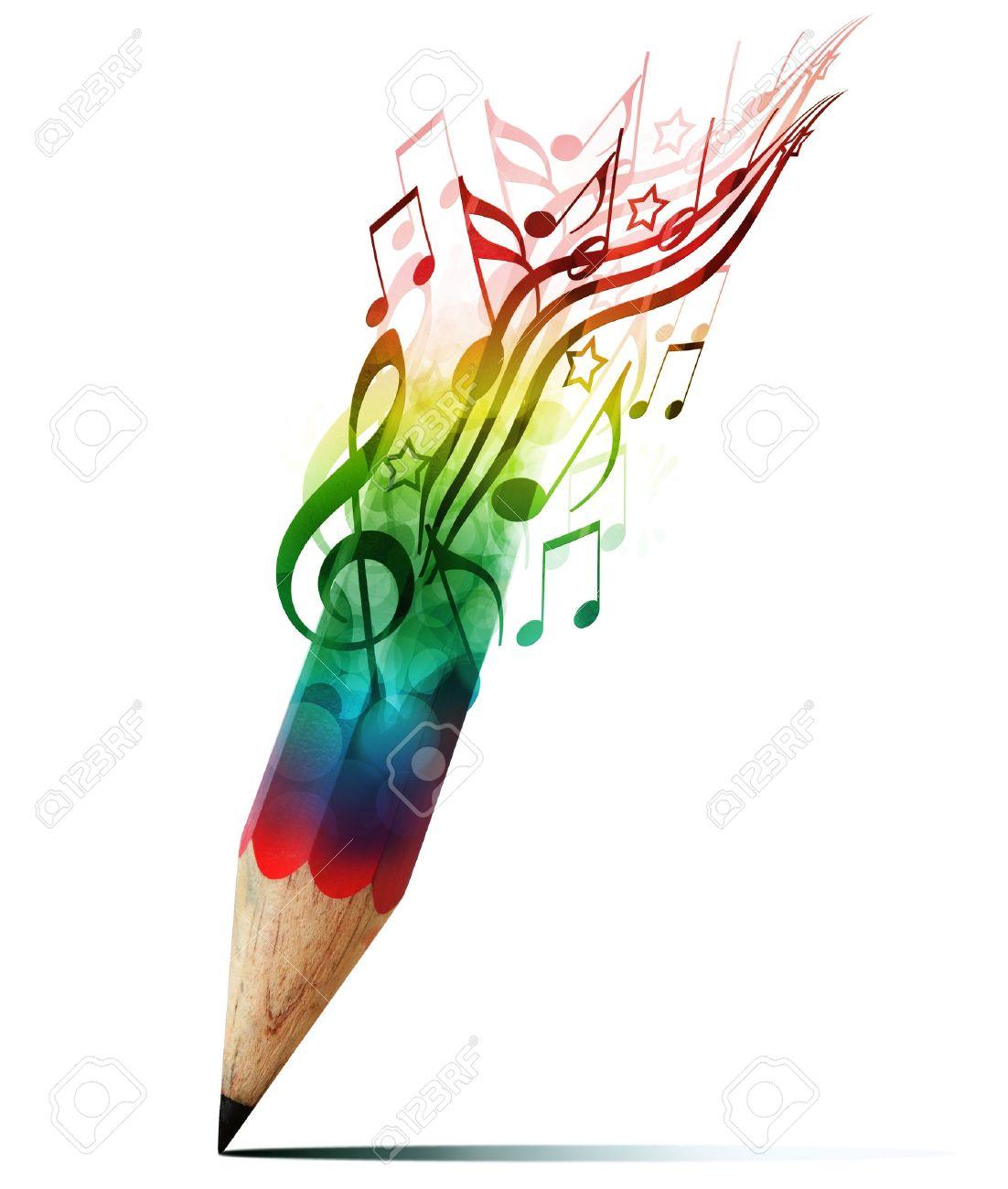 Lápiz Creativo Con Notas Musicales Aislado En Blanco