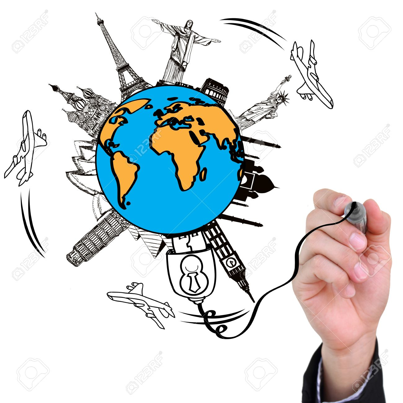 Businessman Hand Drawing Travel The World Monument Concept