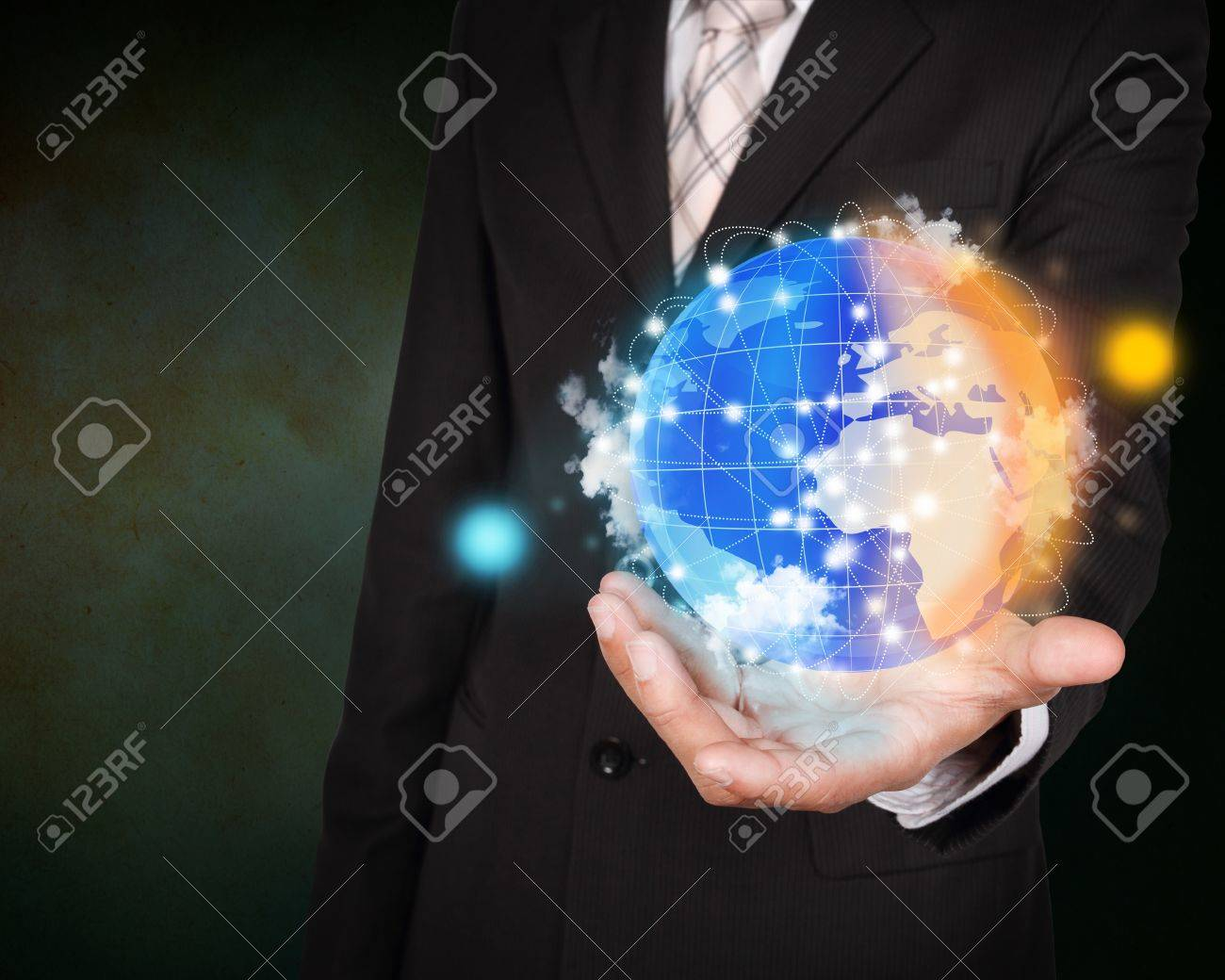 Day and night planet system concept on business hand Stock Photo - 17727005