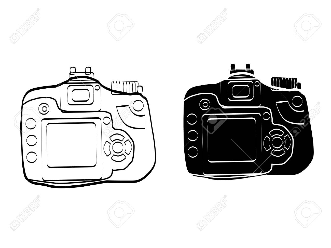 Camera Vintage Vector Free : Illustration black and white vintage camera icon vector art