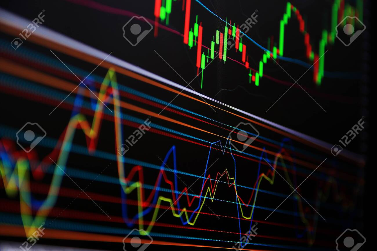 Line graph Trading signals Currency for trading Investments.Trading, investing in the currency market and the stock market. - 146499352