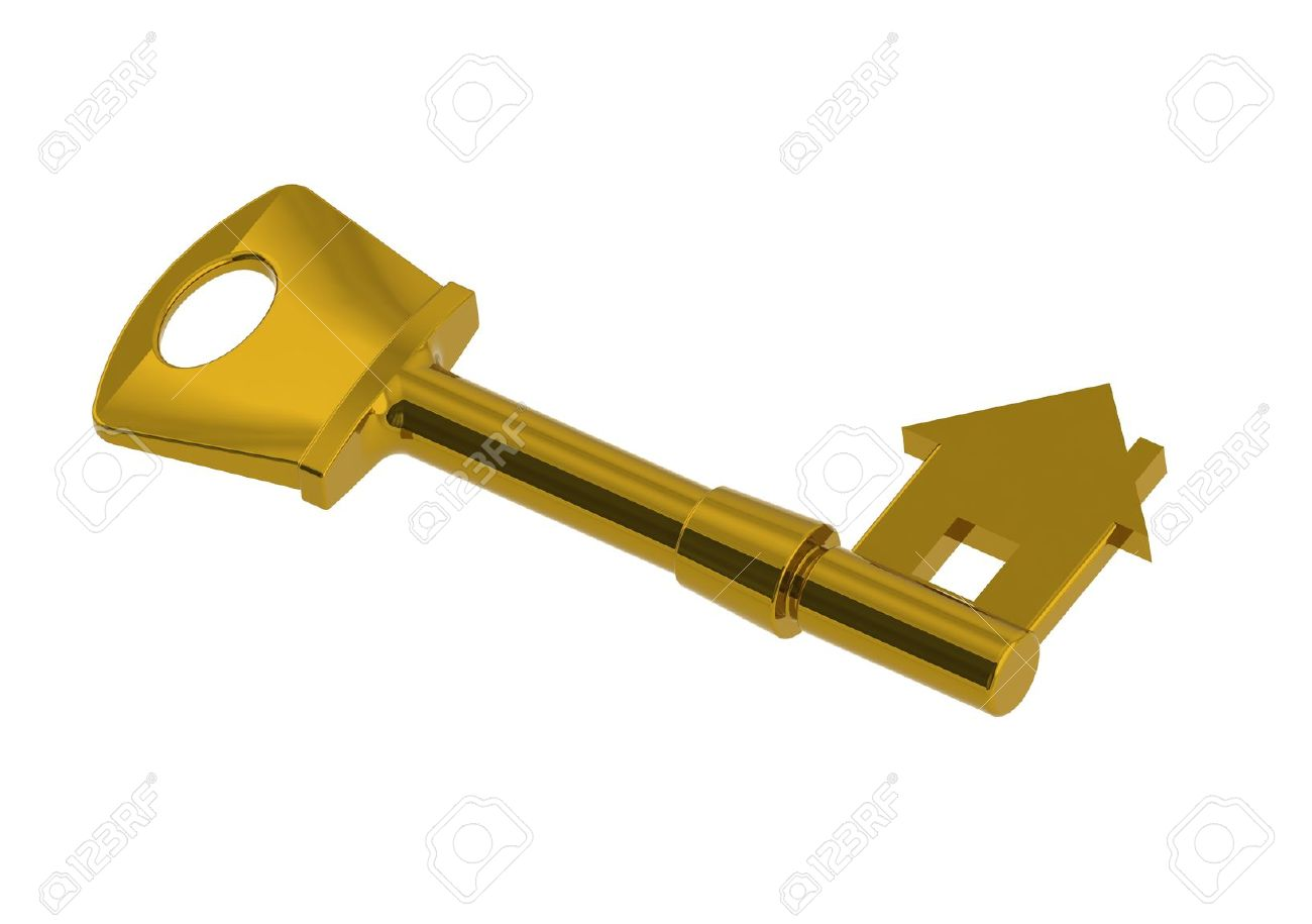 Gold house-shape key Stock Photo - 13805095
