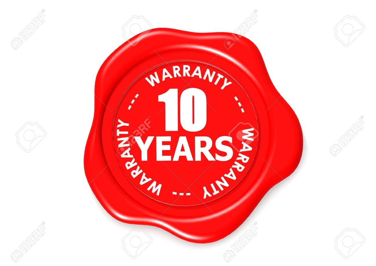 Ten years warranty seal Stock Photo - 16080725
