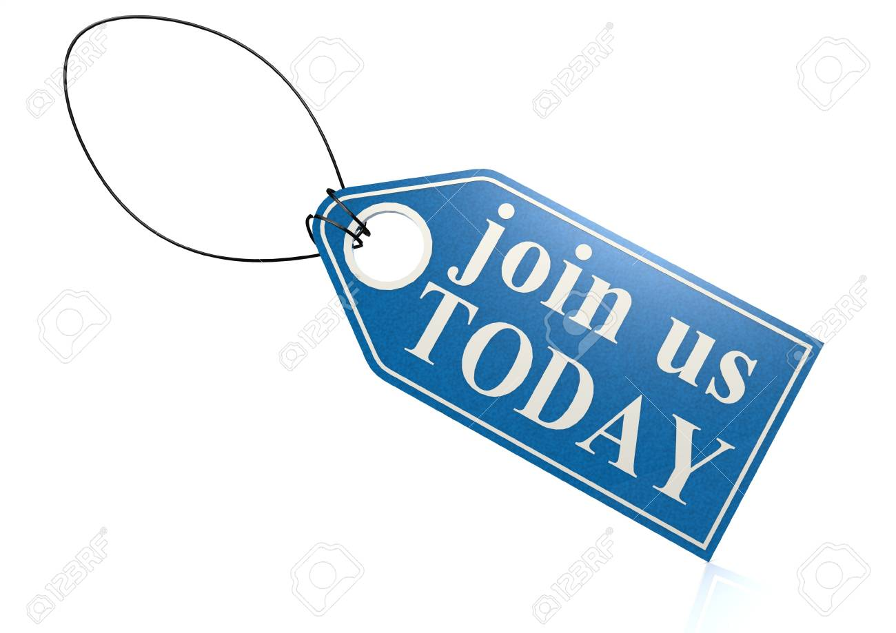 Join us today label Stock Photo - 18942617