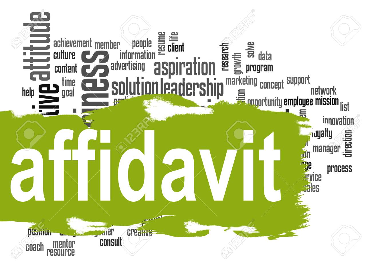 Affidavit word cloud with green banner image with hi-res rendered